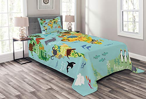 Ambesonne Wanderlust Bedspread Set Twin Size, Animal Map of The World for Children Kids Cartoon Mountains Forests, Decorative Quilted 2 Piece Coverlet Set with Pillow Sham, Pale Blue ()
