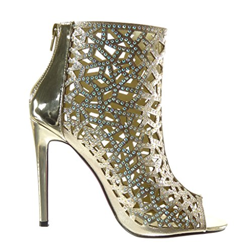 Angkorly - Chaussure Mode Bottine Sandale Peep-Toe stiletto sexy femme strass diamant multi-bride Talon haut aiguille 11 CM - Or