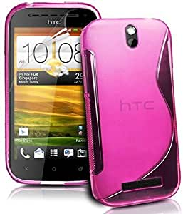 S Body Style HTC ONE SV ONE ST T528T TPU Gel Silicone Case Cover included Calans Screen Protector -(Hot Pink)