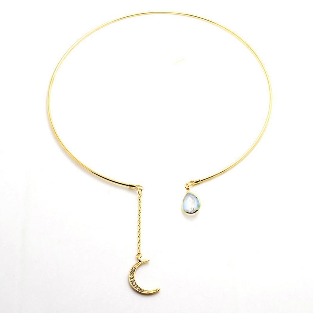 Youcoco Women Fashion Open Rhinestone Circular Moon Water Drop Pendant Choker Necklace