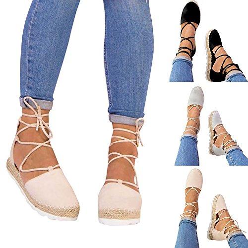 Hunleathy Women's Espadrille Lace up Flat Sandals Close Toe Platform Sandals Size 9 Black by Hunleathy (Image #2)