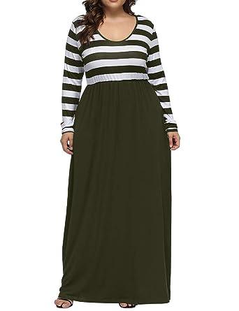 Allegrace Women\'s Plus Size Striped Patchwork Long Sleeve Maxi Dress ...