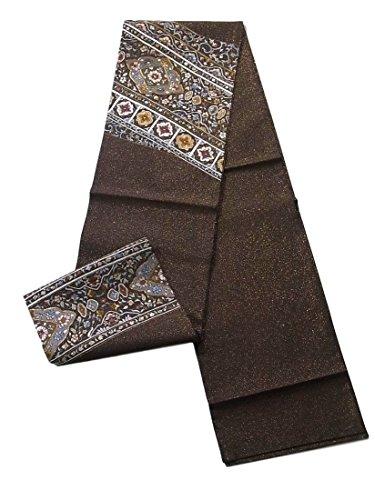 ホイッスルホステスりんごリサイクル 袋帯 正絹 お太鼓柄 刺繍 斜め縞に華文や花唐草