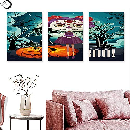 J Chief Sky Halloween Abstract Painting Cartoon Girl with Sugar Skull Makeup Retro Seasonal Artwork Swirled Trees Boo Triptych Art Set Multicolor Triptych Art Canvas W 16