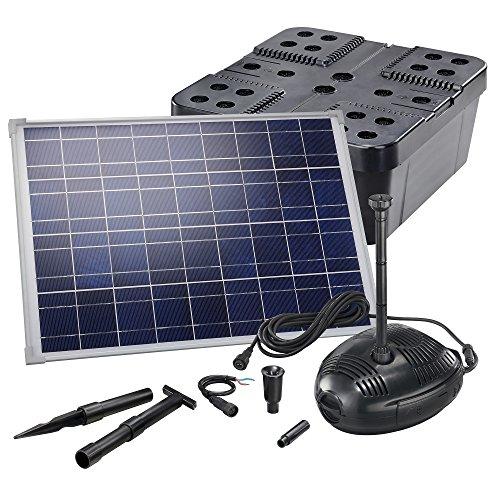 Solar Teichfilterset Profi 1300 l/h Förderleistung 35 W Solarmodul Komplettset bis 4000l Gartenteich 101071