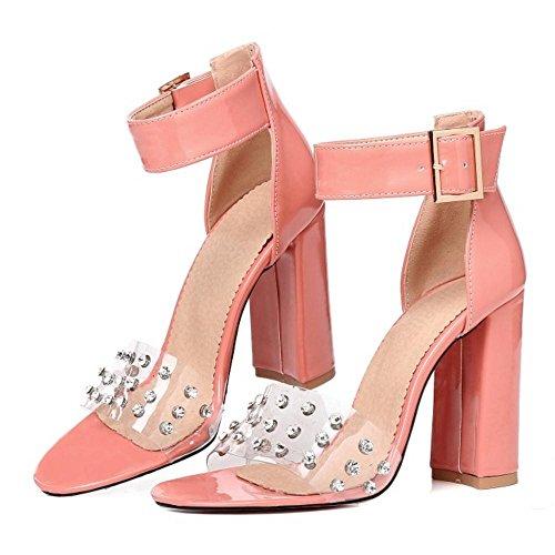 Pink Ankle Chaussures Sandals Strap Femmes TAOFFEN qSpXUwC6w