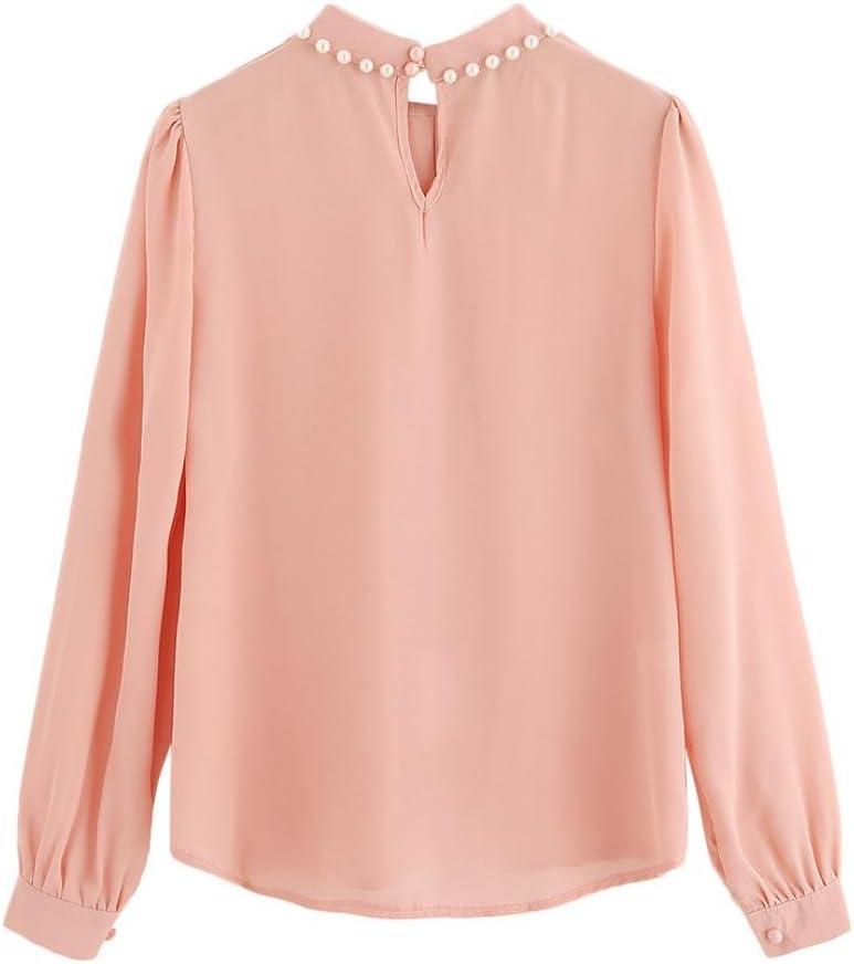 Camisa de gasa con plisado de color caramelo para mujer ...