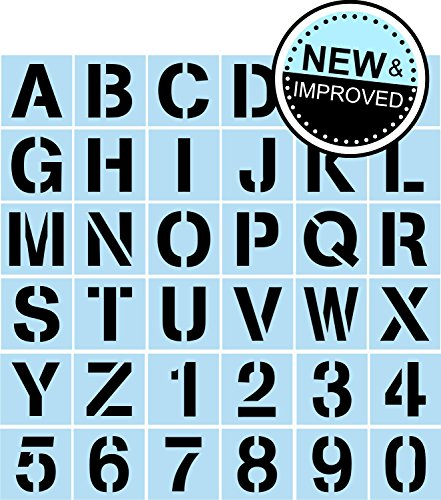 Stencil Lettering Kit for Painting Signs, Reusable, 3 Inch Plastic, Full Alphabet + Numbers