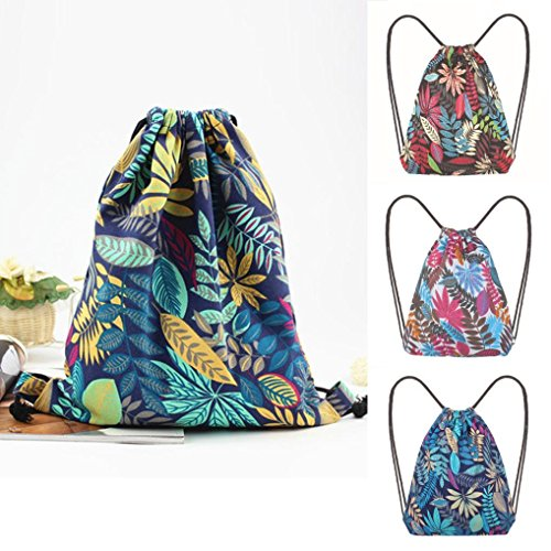 Bag Drawstring Janly Printing Bucket Blue Shopping Blue Reusable Bags Bags Leaf Shoulder Bag USTqZ4