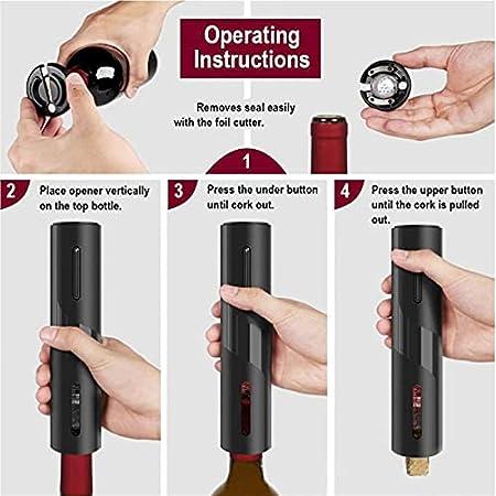 Abre de vino eléctrico recargable automáticamente sacacorchos creativos de botella de vino creativo con traje de cable de carga USB para herramientas de cocina para fiestas, bodas y uso doméstico. (AB