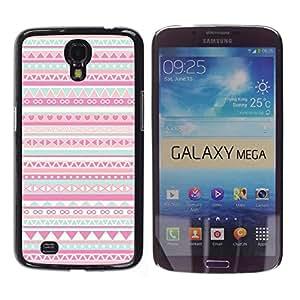 YOYOYO Smartphone Protección Defender Duro Negro Funda Imagen Diseño Carcasa Tapa Case Skin Cover Para Samsung Galaxy Mega 6.3 I9200 SGH-i527 - patrón nativo rosa folk americano
