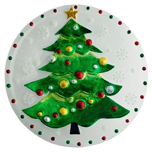 Christmas Tree Round Platter - Round Glass Christmas Tree Platter-12