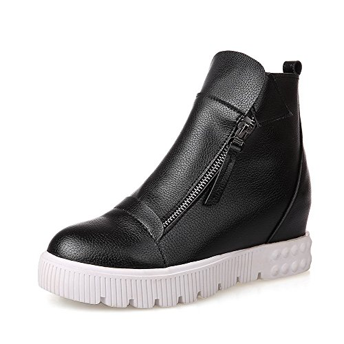 Wedge Solid nero Toe metallo Boots con Round Agoolar Women Low Wedge FIB4q
