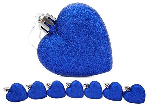 Blue Heart Glitter (8 x 60mm Royal Blue Glitter Heart Shaped Christmas Tree Baubles)