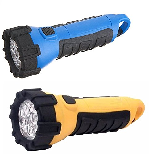 Floating Waterproof LED Flashlight with Carabineer Clip, 55-Lumens, Yellow and Blue (2-Pack) -