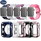 Compatible Apple Watch Band with Case 38mm 5 Pack, MAIRUI iWatch Soft Silicone Sports Strap Wristband Replacement TPU Protective Cover Case for Apple Watch Series 3/2/1, iWatch Sport/Edition/Nike+