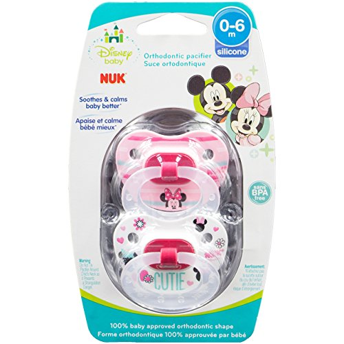 Disney Pacifier Infant (NUK Disney Baby Minnie Mouse Puller Pacifier in Assorted Colors and Styles, 0-6 Months (Size 1))