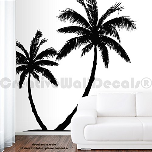 Wall Decal Vinyl Sticker Decals Art Decor Design Couple Palm Branch Beach Tree Hawaii Sun Summer Surf Dorm Bedroom Mural Modern Dorm ()