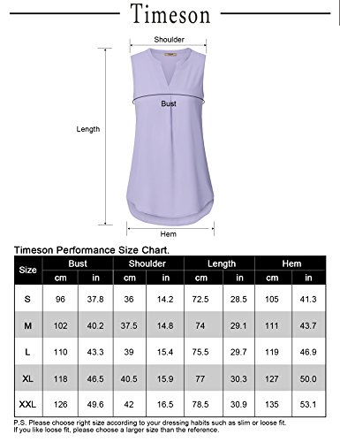 Timeson Summer Tops for Women, Womens Chiffon Business Tunic Blouse Split V Neck Fashion Flowy Linen Blouses Tank Tops for Junior for Business Work for Leggings Light Violet XX-Large by Timeson (Image #4)