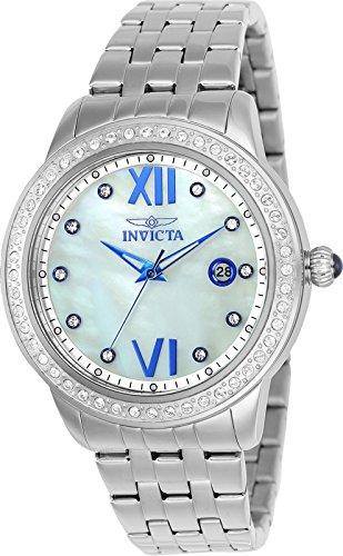 Stainless Steel Mop Watch - Invicta 23661 Women's Angel Crystal Accented Bezel MOP Dial Stainless Steel Bracelet Watch