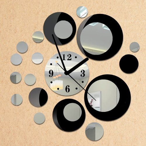 NYKKOLA Removable Diy Acrylic 3D Mirror Wall Sticker Decorative Clock, Black and - And Mirror Silver Black