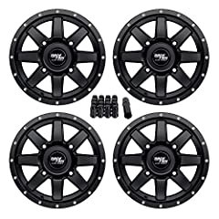 Wheel Specifications:Quantity: Four (4) (Includes 4 centercaps as pictured)Wheel Size: 14x7Wheel Offset: 5+2 Bolt Pattern: 4x110 Wheel Centerbore: 74mmLug Nuts- Includes Black Spline Style Wheel Lock Lug Nuts ($30 Value) - Includes thin-walle...