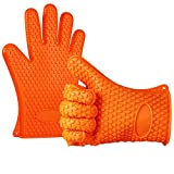 Anpro Silicone BBQ Gloves Heat Resistance Grilling Silicone Gloves for BBQ, Grill, Cooking, Baking, Smoking, Frying ()