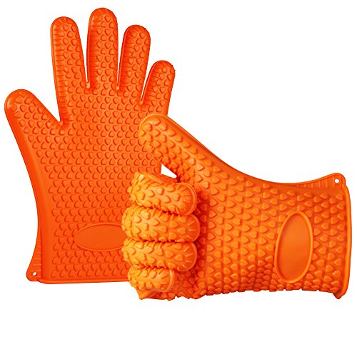 Find Bargain Anpro Silicone BBQ Gloves Heat Resistance Grilling Silicone Gloves for BBQ, Grill, Cook...