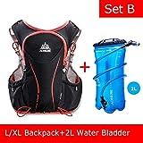 POJNGSN Hydration Pack Backpack Rucksack Bag Vest Harness Water Bladder Hiking Camping Running Race Sports 5L Set B