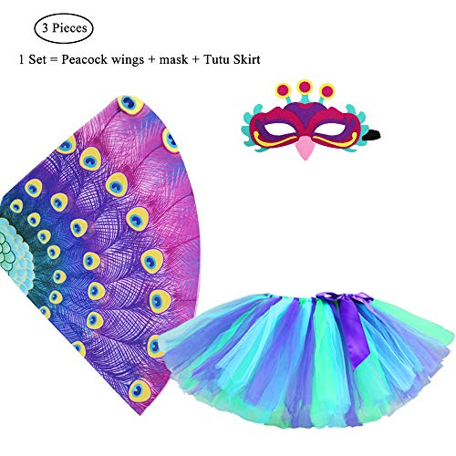 Kids Fairy Bird Costume Peacock Wings and Mask for Girls Boys Dress-Up Feathered Party Favors (# 4 Purple Wings with Tutu)]()