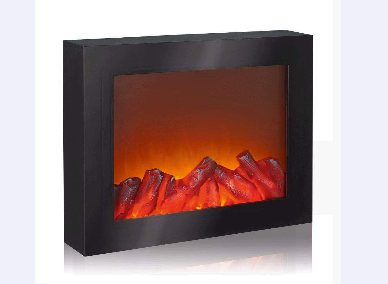 EASYmaxx 03422 LED-Kamin | Wandkamin | Deko-Kamin (Nur Kamin Optik) | Lodernde Flammen | Elektrischer Kamin | OHNE Heizfunktion | Timerfunktion | Kabellos | Schwarz DS-Produkte