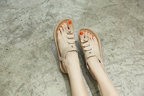Damen Sommer Flach Flip Flop Sandalen Zehentrenner 409 Beige