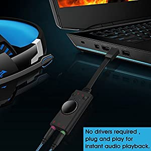 USB Sound Card Adapter External USB 2.0 Audio Sound Card Adapter for Table PC Laptop Desktop Windows Mac OS Linux. Plug and Play, No drivers Needed