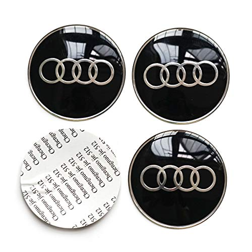 (4PCS 65MM 2.56 inches Auto Car Styling Accessories Emblem Badge Decal Sticker Wheel Hub Caps Centre Cover fit for Audi)
