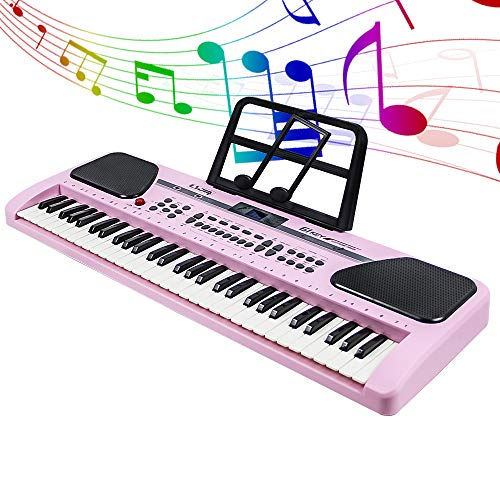 MBQMBSS 61 Key Electronic Keyboard Piano Electric Piano Potable Electric Piano Keyboard Beginner Electric Piano Learning with Microphone&USB Cable&Music Stand for Kids Teens