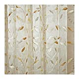 Aside Bside Home Treatment Voile Draperies Leisure Style Rod Pockets Gold Willow Embroidered Sheer Curtains For Child Room Kitchen and Sitting Room (1 Panel, W 52 x L 95 inch, White)