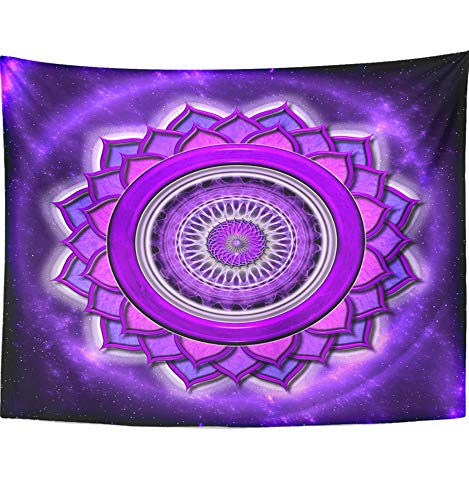 Emvency 60''x80'' Indian Tapestry Mandala hippie wall hangings Reiki Chakra Sahasrara Mandala Aura Buddhistisch Chi Crown Faith Mantra Home Decor Tapestries For Bedroom by Emvency