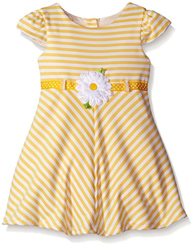Youngland Little Girls' Textured Ottoman Striped Knit Dress with Daisy, Yellow, 3