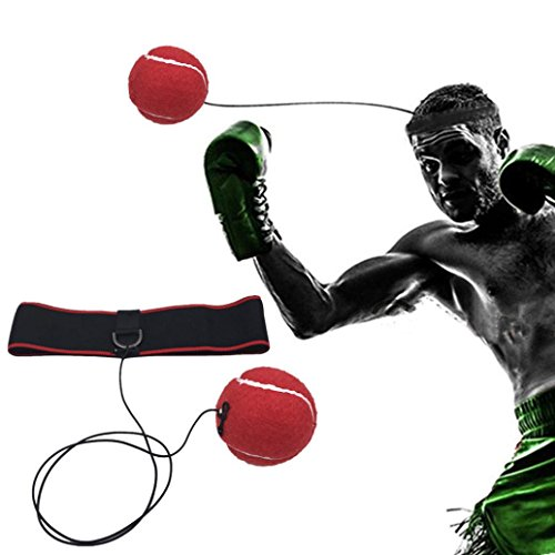 Price comparison product image Nacome Fight Ball Reflex | Boxing Balls on String with Headband Training Speed Reaction Set Kit Hat Head Band Tennis Refex Punching Focus Reflexes Trainer Practice Punch Fitness Gym Boxer (Red)