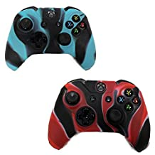 HDE 2 Pack Protective Silicone Gel Rubber Grip Skin Cover for Xbox One Wireless Gaming Controllers (Red-Black + Blue-Black)
