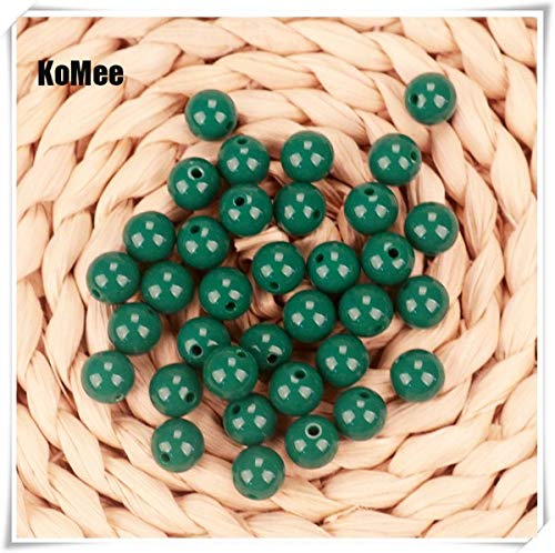 Calvas Fashion Jewelry Bead 6mm/8mm/10mm/12mm/14mm/16mm/18mm/20mm Acrylic Bead Chunky Bubblegum Solid Beads for Bracelet Jewelry Making - (Color: Dark Green, Item Diameter: 10mm 200pcs)