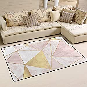 Gold glitter geometric pattern on rose marble - Gold rugs for living room ...