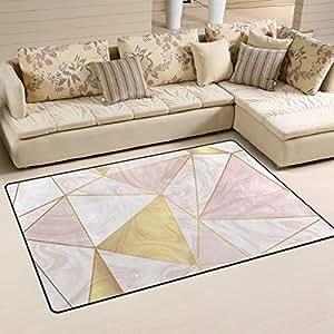 Gold glitter geometric pattern on rose marble - Gold rug for living room ...