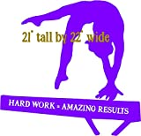 Gymnast on beam hard work amazing results, wall decal sticker, Walls with style (Dark Purple)