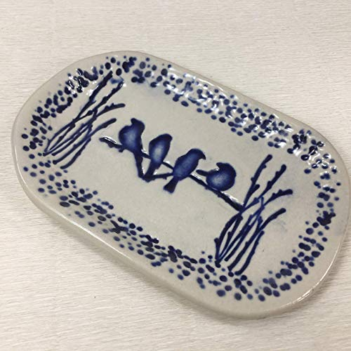 JANECKA Four BlueBirds Oval Tray 6 x 4 Inches, Artisan Crafted Soap Dish, Pottery 9th Anniversary Gift - Nature Soap Dish
