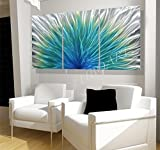 74x36'' Large METAL art teal sculpture modern Abstract home business office wall decor contemporary spring under water blue green silver painting by Lubo Naydenov