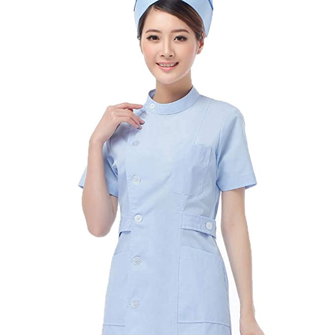 ESENHUANG Enfermera Doctor Uniforme Verano Corto De Manga Larga Hospital Farmacia Médica Salón De Belleza Quirúrgica Exfoliante Mujeres Mujer Abrigo Largo: ...