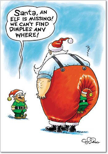 12 'Missing Dimples' Christmas Cards with Envelopes 4.63 x 6.75 inch, Funny Santa Claus and Elves Holiday Notes, Adult Humor Christmas Cards, Silly Cartoon Christmas Notes B5737
