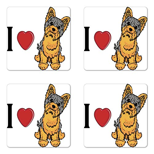 (Ambesonne Yorkie Coaster Set of Four, I Love Yorkshire Terrier Cute Dog Smiling Animal Tilted Head Love Print, Square Hardboard Gloss Coasters for Drinks, Marigold Pale Grey)