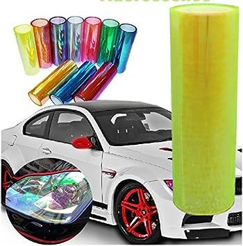 Orange DIYAH 12 X 48 inches Self Adhesive Shiny Chameleon Headlights Tail Lights Fog Lights Films,Film Sheet Sticker,Tint Vinyl Film